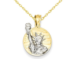 Lady Liberty on American Flag Disk Pendant Necklace in 14K Yellow and White Gold