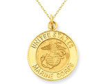 U.S. Marine Corps Insignia Disc Pendant Necklace in 14K Yellow Gold