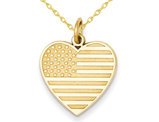 Heart Shaped American Flag Charm Pendant Necklace in 14K Yellow Gold