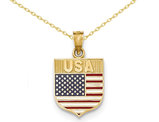 Enameled USA Flag Pendant Necklace in 14K Yellow Gold