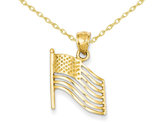 American Flag Pendant Necklace in 14K Yellow Gold