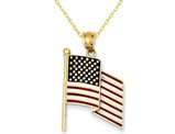 Enameled Flag Pendant Necklace in 14K Yellow Gold with Chain