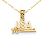 Textured USA Pendant Necklace in 14K Polished Yellow Gold