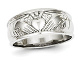 Ladies 14K White Gold Polished Claddagh Ring