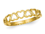 Ladies 14K Yellow Gold High Polished Heart Band Promise Ring
