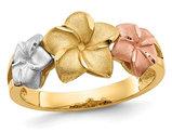 Ladies 14K Yellow, White, Pink Tri-color Plumeria Gold Ring