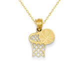 Basketball and Hoop Pendant Necklace in 14K Yellow Gold