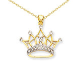 Crown Pendant Necklace in 14K Yellow and White Gold