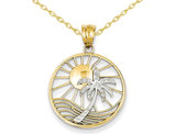 Sun & Palm Tree Pendant Necklace in 14K Yellow and White Gold