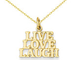 Live - Love - Laugh Charm Pendant Neklace in 14K Yellow Gold with chain