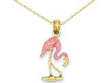 Enameled Pink Flamingo Pendant Necklace 14K Yellow Gold