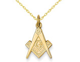 Masonic Charm Pendant Necklace in 14K Yellow Gold with Chain