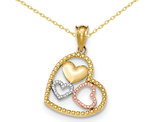 Textured Triple Heart Pendant Necklace in 14K Yellow and White Gold