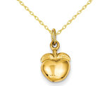 Golden Apple Charm Pendant Necklace in 14K Yellow Gold with Chain