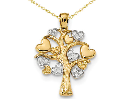 Tree of Life with Hearts Pendant Necklace in 14K Yellow and White Gold