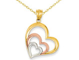 Triple Open Heart Pendant Necklace in 14K Pink and Yellow Gold