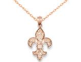 Fleur De Lis Pendant Necklace in 14K Rose Gold with Chain