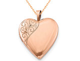 Swirl Heart Locket Pendant Necklace in Sterling Silver with Rose Gold Plating
