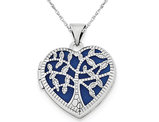 Filigree Tree Heart Locket in Sterling Silver with Chain
