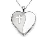 Cross Heart Shaped Locket Pendant Necklace in Sterling Silver