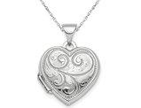 Heart Patterned Locket Pendant Necklace in Sterling Silver