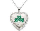 Green Enamel Clover Heart Locket in Sterling Silver 16mm