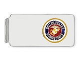 U.S. Marine Corp Money Clip in Sterling Silver with Gold Border