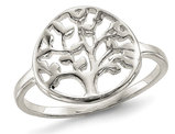 Ladies Polished Tree Ring in Sterling Silver