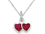 Pink Enameled Double Heart Charm Pendant Necklace in Sterling Silver