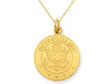 U.S. Army Insignia Disc Pendant Necklace in 14K Yellow Gold