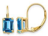 7x5mm Emerald Cut Blue Topaz Leverback Earrings in 14K Yellow Gold