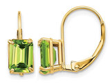 14K Yellow Gold 7x5mm Emerald Cut Peridot Leverback Earrings 2.00 Carat (ctw)