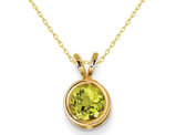 6mm Solitaire Peridot Pendant Necklace in 14K Yellow Gold