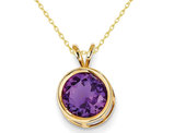 8mm Purple Amethyst Solitaire Pendant Necklace in 14K Yellow Gold