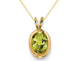 8x6mm Oval Green Peridot Pendant Necklace in 14K Yellow Gold