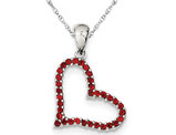 Synthetic Red Cubic Zirconia Heart Pendant Necklace in Sterling Silver