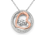 Synthetic Swarovski Zirconia Two Tone Open Heart Pendant Necklace in Sterling Silver
