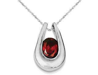 Dark Red Garnet Pendant Necklace in Sterling Silver