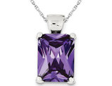 Rectangular Synthetic Purple Cubic Zirocnia Pendant Necklace in Sterling Silver