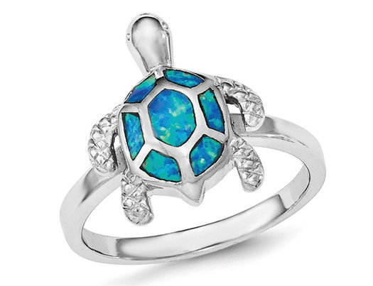 Synthetic Blue Opal Turtle Ring in Sterling Silver with Rhodium