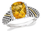 Sterling Silver with 14K Gold Accents Antiqued Citrine Ring 2.50 Carat (ctw)