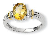 Sterling Silver and 14K Gold Accent Oval Citrine Ring
