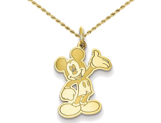 Yellow Gold Plated Sterling Silver Disney Mickey Waving Pendant Necklace with Chain