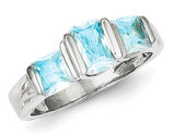 Sterling Silver Three Stone Blue Topaz Gemstone Ring