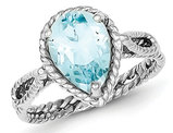 Sterling Silver Pear Shaped Blue Topaz Gemstone Twisted Ring