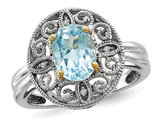 Sterling Silver and 14K Gold Accent Sky Blue Topaz Ring