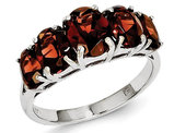 Sterling Silver Five Stone Garnet Ring 4.0 Carat (ctw)