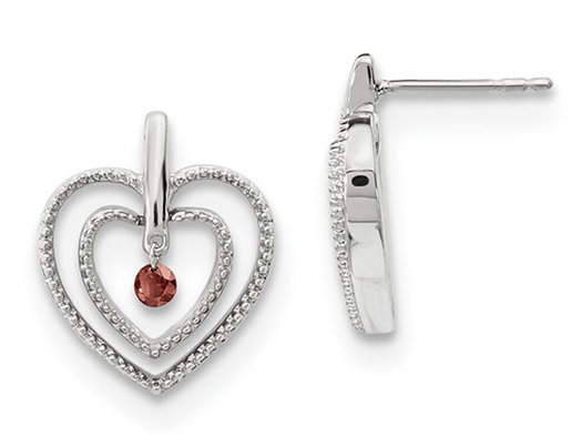 14K White Gold Post Heart Earrings with Red Diamond 1/10 (ctw)