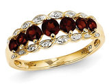 14K Yellow Gold Garnet Ring 9/10 Carat (ctw) with Diamonds