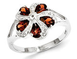 Sterling Silver Rhodium Plated Red Garnet Ring 1.00 Carat (ctw)